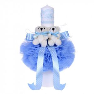 Lumanare botez 2 ursuleti, decor bleu, Denikos® 50
