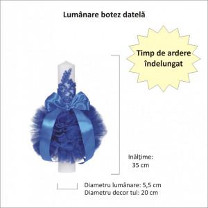 Lumanare botez eleganta cu tul, dantela si fundita, decor albastru, Denikos® 708
