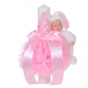 Lumanare botez jucarie iepuras pufos si dantela, decor roz, Denikos® 713