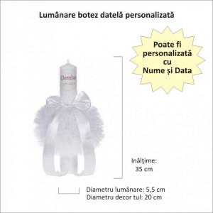 Lumanare botez personalizata, decor alb, diafan cu tul si dantela, Denikos® 728