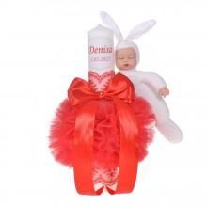 Lumanare botez personalizata, decor rosu cu tul, dantela si o jucarie iepuras, Denikos® 733
