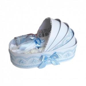 Lumanare botez personalizata si trusou botez in landou, decor Bleu, Denikos® 778