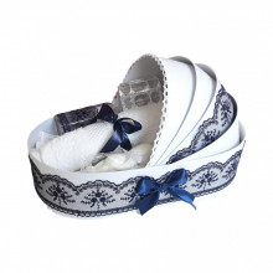 Lumanare botez tul bleumarin cu ursuleti si trusou botez in landou, Denikos® 595