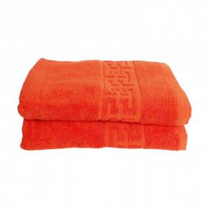 Set 2 prosoape mari groase si pufoase, bumbac, model grecesc, Orange, Denikos® 291