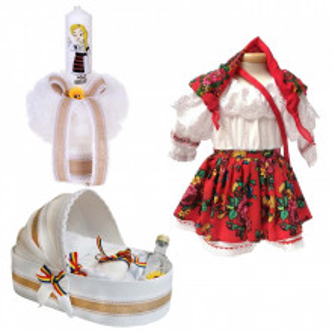 Set botez traditional fetita, trusou botez landou, lumanare si costum national fata, Denikos® 971