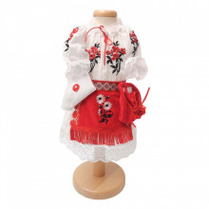 Set botez traditional fetita, trusou botez landou, lumanare si costum traditional, Denikos® 978
