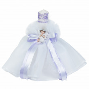 Set dantela trusou botez, cutie trusou si lumanare, Ingeras, decor Lila, Denikos® 569