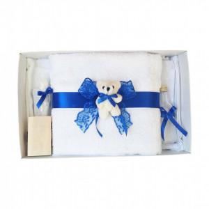 Set trusou botez, cutie trusou si lumanare, dantela si Ursuleti, decor albastru, Denikos® 554