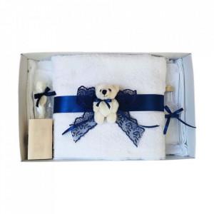 Set trusou botez si cutie trusou, Ursulet, dantela bleumarin, Denikos® 458