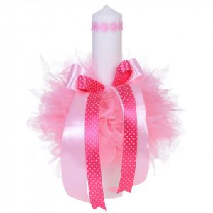 Trusou botez cu mesaj si lumanare pentru fetita, Floricele, decor roz, Denikos® 541