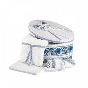 Trusou botez si cutie traditional alb albastru NK-TR-002
