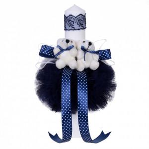 Trusou botez ursulet si lumanare pentru baietel, decor bleumarin, Denikos® 98