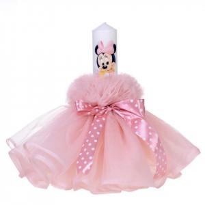Lumanare botez baby girl, rochita roz pudra si fundita cu buline, Denikos® 81