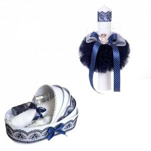 Trusou botez in landou si lumanare glob cu ingeras, decor bleumarin Denikos® 161