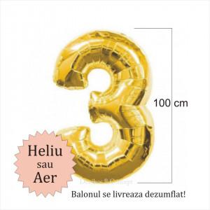 Balon folie cifra 3 auriu
