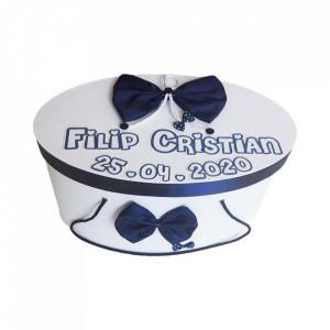 Cutie trusou botez personalizata, decor funda bleumarin, Denikos® 217