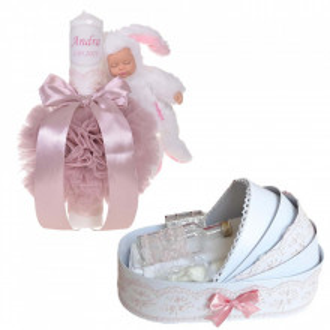 Lumanare botez cu iepuras, personalizata si trusou botez in landou, decor Roz pudra, Denikos® 802