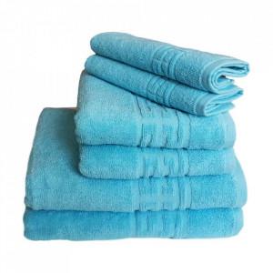 Set 6 prosoape groase si pufoase, bumbac, model grecesc, Bleu, Denikos® 244