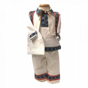 Set botez traditional baietel, trusou botez, lumanare si costum traditional baiat, Denikos® 739