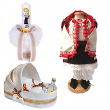 Set botez traditional fetita, trusou botez landou, lumanare si costum traditional, Denikos® 983