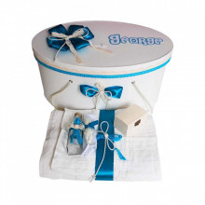 Set cutie trusou personalizata cu nume si trusou botez, decor turcoaz Denikos® 238