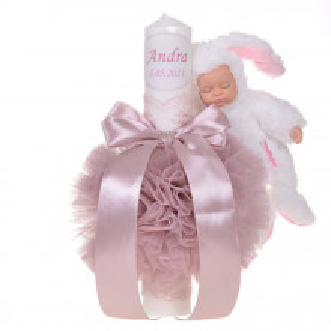 Set elegant trusou botez, cutie trusou si lumanare personalizata cu nume, decor dantela Roz pudra cu iepuras, Denikos® 947