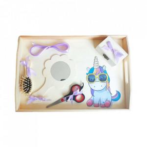 Set tavita mot simpla, fetita 1 an, fundite lila, decor unicorn cu ochelari, Denikos® 206
