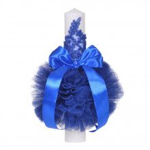 Set trusou botez, cutie trusou si lumanare, decor elegant dantela Albastra, Denikos® 921