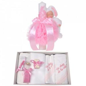 Trusou botez cu mesaj si lumanare eleganta glob cu dantela si iepuras pufos, decor roz, Denikos® 762