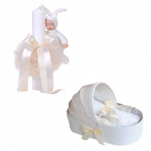 Trusou botez in landou si lumanare cu iepuras, decor ivoire Denikos® 174