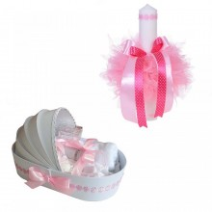 Trusou botez in landou si lumanare cu floricele roz pentru fetita Denikos® 44