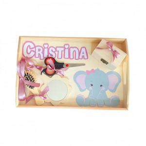 Set tava mot / turta, fetita 1 an, decor elefantica, roz pudra Denikos® 233