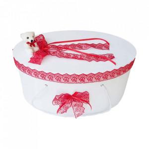 Cutie trusou botez dantela rosie si ursulet, Denikos® 399