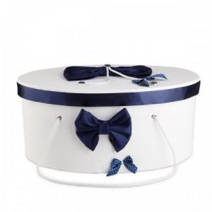 Cutie trusou decorata cu funde bleumarine NKTR006-C