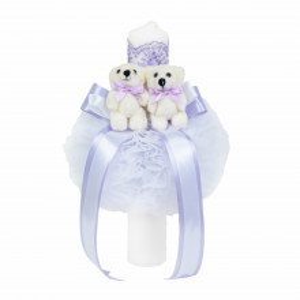 Lumanare botez 2 ursuleti, decor LILA, Denikos® 525