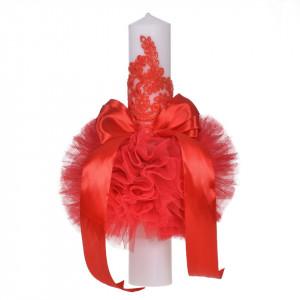 Lumanare botez eleganta cu tul, dantela si fundita, decor rosu, Denikos® 705