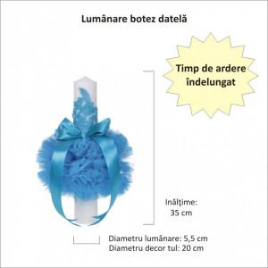 Lumanare botez eleganta cu tul, dantela si fundita, decor turcoaz, Denikos® 710