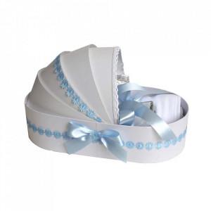 Lumanare botez glob cu dantela si trusou botez in landou, decor Bleu cu floricele, Denikos® 752