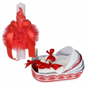 Lumanare botez glob cu dantela si trusou botez in landou, decor Rosu, Denikos® 756