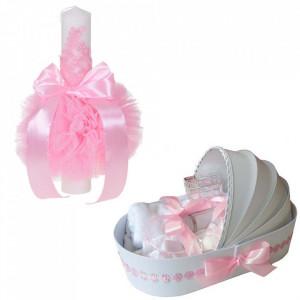 Lumanare botez glob cu dantela si trusou botez in landou, decor Roz cu floricele, Denikos® 749