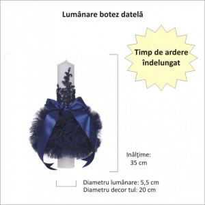 Lumanare botez glob cu dantela si trusou botez in landou, decor Bleumarin, Denikos® 753