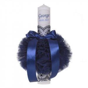 Lumanare botez personalizata, decor bleumarin cu tul si dantela, Denikos® 725