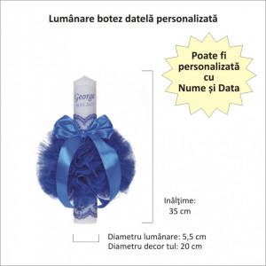 Lumanare botez personalizata si trusou botez in landou, decor dantela Albastra, Denikos® 867