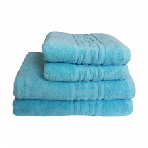 Set 4 prosoape groase si pufoase, bumbac, model grecesc, Bleu, Denikos® 248