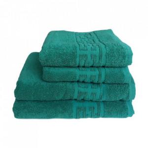 Set 4 prosoape groase si pufoase, bumbac, model grecesc, Verde, Denikos® 289