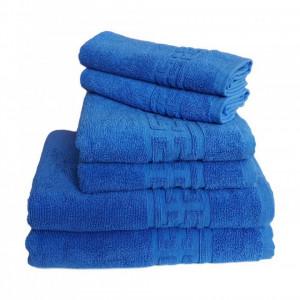 Set 6 prosoape groase si pufoase, bumbac, model grecesc, Albastru, Denikos® 243