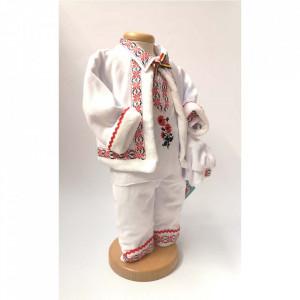 Set botez traditional baietel, trusou botez landou, lumanare si costum popular baiat, Denikos® 968