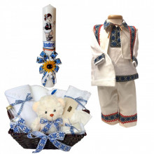 Set botez traditional baietel, trusou botez, lumanare si costum traditional baiat, Denikos® 739