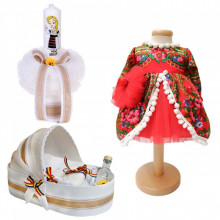 Set botez traditional fetita, trusou botez landou, lumanare si costum traditional, Denikos® 988