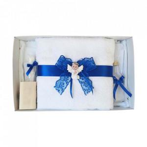 Set dantela trusou botez, cutie trusou si lumanare, Ingeras, decor albastru, Denikos® 476